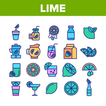 Lime Fruit Collection Elements Icons Set Vector Thin Line. Sliced Lime And With Leaves, Citrus Juice And Drink With Lemon Concept Linear Pictograms. Color Illustrations
