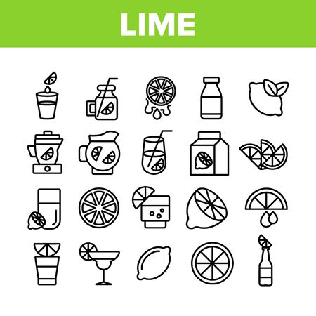 Lime Fruit Collection Elements Icons Set Vector Thin Line. Sliced Lime And With Leaves, Citrus Juice And Drink With Lemon Concept Linear Pictograms. Monochrome Contour Illustrations