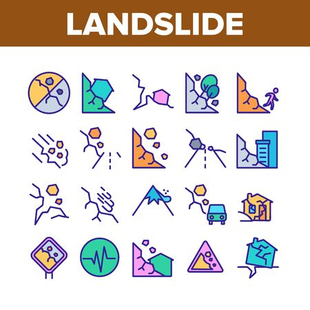 Landslide Collection Elements Icons Set Vector Thin Line. Snowy And Stone Landslide From Mountain, Road Mark And Ruined House Concept Linear Pictograms. Color Illustrations