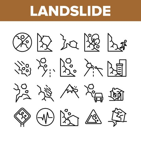 Landslide Collection Elements Icons Set Vector Thin Line. Snowy And Stone Landslide From Mountain, Road Mark And Ruined House Concept Linear Pictograms. Monochrome Contour Illustrations