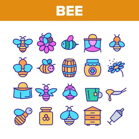 Bee And Honey Collection Elements Icons Set Vector Thin Line. Bee On Flower, Wooden Barrel And Beekeeper Suit And Equipment, Beekeeping Concept Linear Pictograms. Color Illustrations