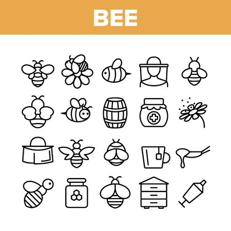 Bee And Honey Collection Elements Icons Set Vector Thin Line. Bee On Flower, Wooden Barrel And Beekeeper Suit And Equipment, Beekeeping Concept Linear Pictograms. Monochrome Contour Illustrations