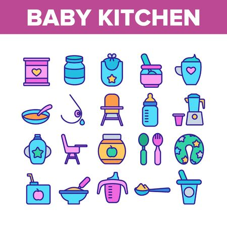 Baby Kitchen Collection Elements Icons Set Vector Thin Line. Feeding Chair And Bib, Cup And Bowl With Spoon For Baby Eating Equipment Concept Linear Pictograms. Color Illustrations