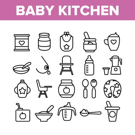 Baby Kitchen Collection Elements Icons Set Vector Thin Line. Feeding Chair And Bib, Cup And Bowl With Spoon For Baby Eating Equipment Concept Linear Pictograms. Monochrome Contour Illustrations