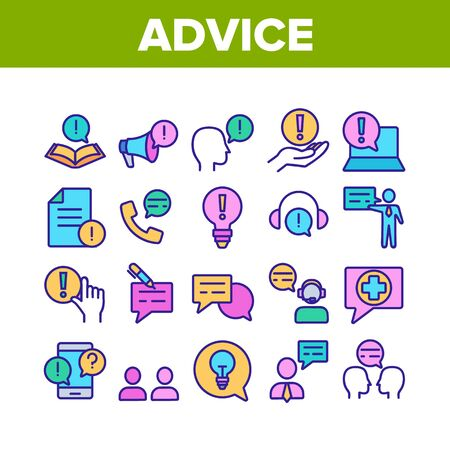 Advice Help Assistant Collection Icons Set Vector Thin Line. Human Silhouette And Call, Internet Online Advice Service Support And Idea Concept Linear Pictograms. Color Illustrations