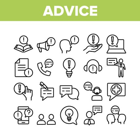 Advice Help Assistant Collection Icons Set Vector Thin Line. Human Silhouette And Call, Internet Online Advice Service Support And Idea Concept Linear Pictograms. Monochrome Contour Illustrations
