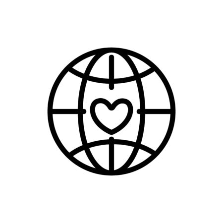 Planet Volunteer Icon Vector. Thin line sign. Isolated contour symbol illustration