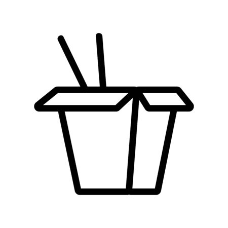 paper box with chopsticks for the icon vector. Thin line sign. Isolated contour symbol illustration Illusztráció