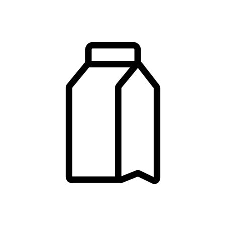 milk in the box icon vector. Thin line sign. Isolated contour symbol illustration