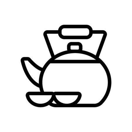 Tea Chinese vector icon. Thin line sign. Isolated contour symbol illustration