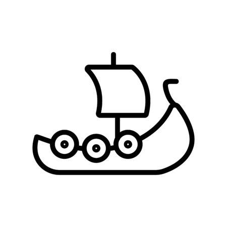 Viking ship icon vector. Thin line sign. Isolated contour symbol illustration