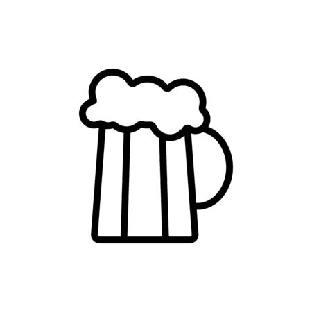 mug of beer with foam vector icon. Thin line sign. Isolated contour symbol illustration