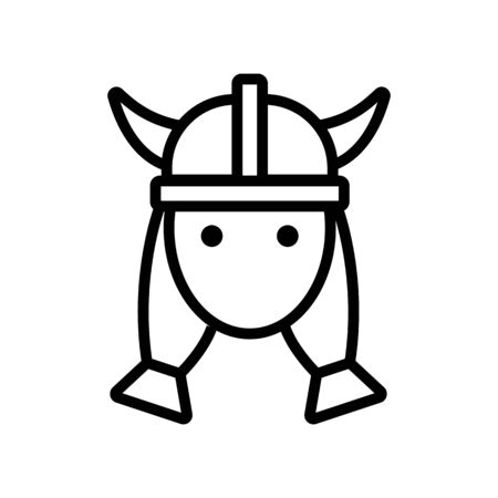 Viking woman icon vector. Thin line sign. Isolated contour symbol illustration