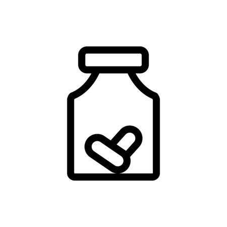 tablets in a bottle icon vector. Thin line sign. Isolated contour symbol illustration Illustration