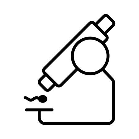 microscope and sperm icon vector. Thin line sign. Isolated contour symbol illustration