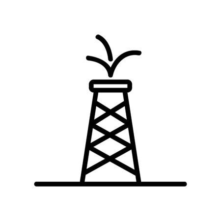 vecteur d'icône de tour d'huile. Signe de ligne mince. Illustration de symbole de contour isolé