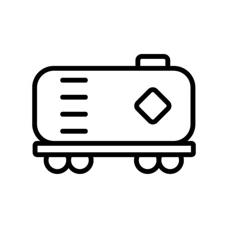 wagon with fuel oil icon vector. Thin line sign. Isolated contour symbol illustration Illustration