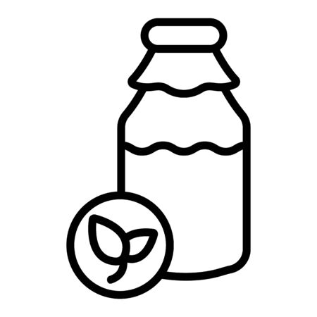 Natural pure milk vector icon. Thin line sign. Isolated contour symbol illustration
