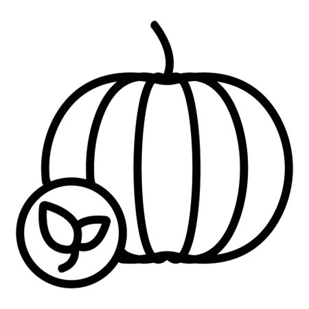 Natural pumpkin vector icon. Thin line sign. Isolated contour symbol illustration