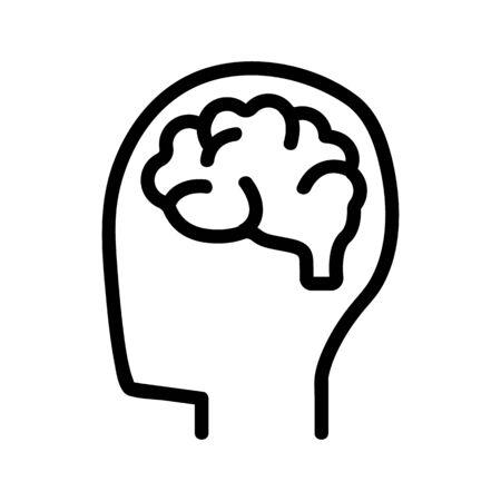 Brain icon vector. Thin line sign. Isolated contour symbol illustration