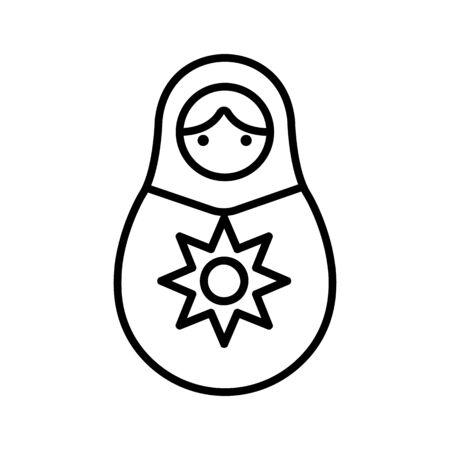 Matreshka icon vector. Thin line sign. Isolated contour symbol illustration