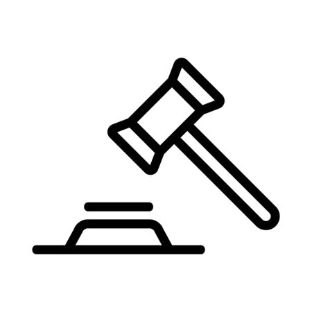 The hammer judges the icon vector. Thin line sign. Isolated contour symbol illustration