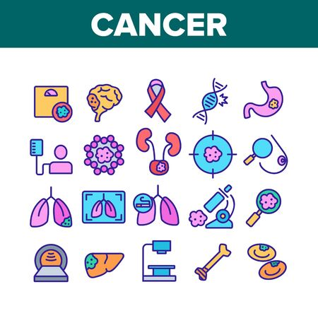 Cancer Anatomy Disease Collection Icons Set Vector Thin Line. Cancer Of Stomach And Lungs, Bones And Breasts, Brain And Liver Concept Linear Pictograms. Color Contour Illustrations