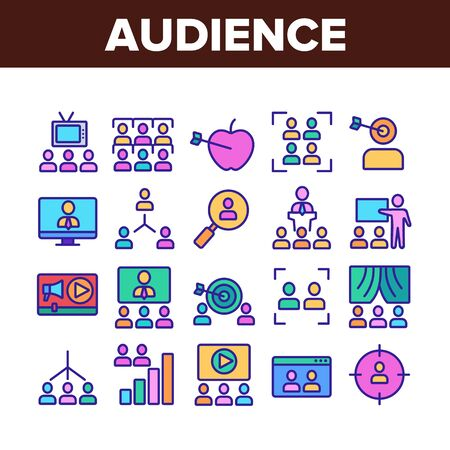 Audience Social Group Collection Icons Set Vector Thin Line. Human On Computer Screen And Magnifier, Video Player And Web Site Audience Concept Linear Pictograms. Color Contour Illustrations Vektorové ilustrace