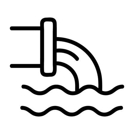 vecteur d'icône d'eaux usées. Signe de ligne mince. Illustration de symbole de contour isolé Vecteurs