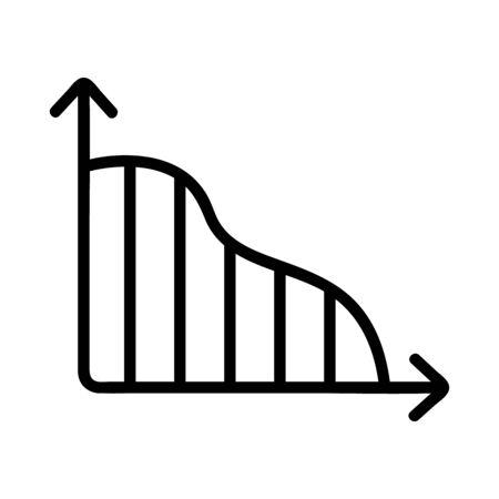 a descending trend icon vector. Thin line sign. Isolated contour symbol illustration Ilustração