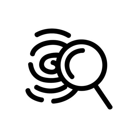 Search for fingerprint icon vector. Thin line sign. Isolated contour symbol illustration Çizim