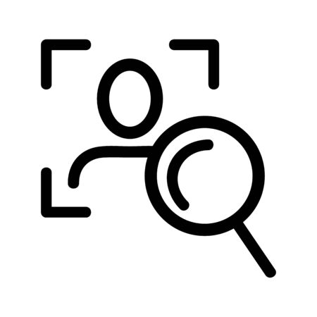 Search for human vector icon. Thin line sign. Isolated contour symbol illustration Vectores