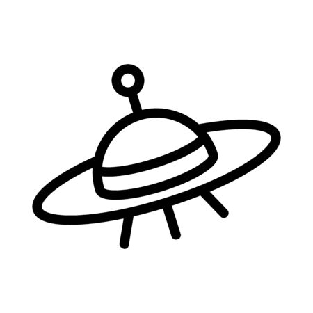 Flying saucer icon vector. A thin line sign. Isolated contour symbol illustration Illusztráció
