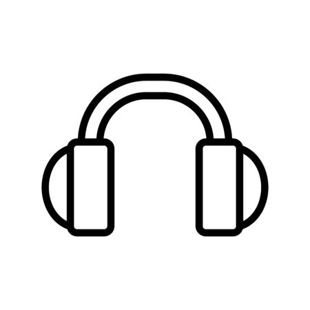 Headphones for music icon vector. A thin line sign. Isolated contour symbol illustration
