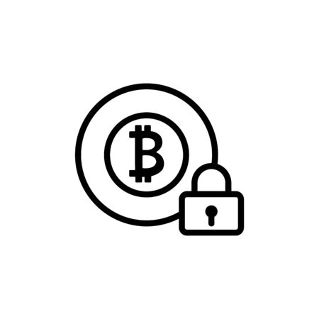 Protection of bitcoin icon vector. A thin line sign. Isolated contour symbol illustration Illustration