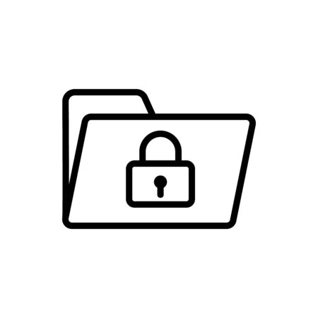 Protect the vector icon folder. A thin line sign. Isolated contour symbol illustration Çizim