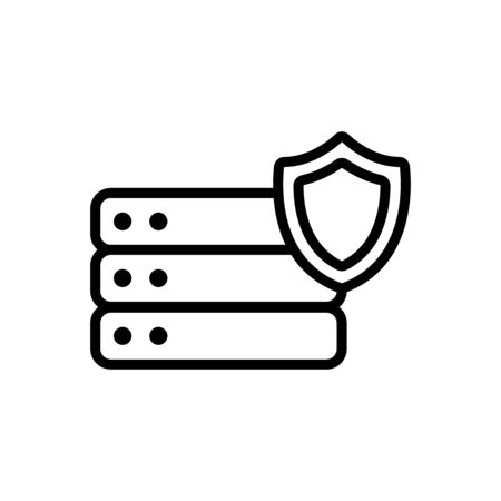 Protect the vector icon database. A thin line sign. Isolated contour symbol illustration