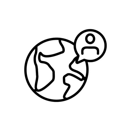 man and earth icon vector. A thin line sign. Isolated contour symbol illustration
