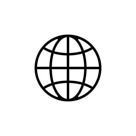 parallels and meridians icon vector. A thin line sign. Isolated contour symbol illustration