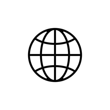 Vector de icono de paralelos y meridianos. Un letrero de línea fina. Ilustración de símbolo de contorno aislado