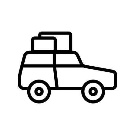 Car icon vector. A thin line sign. Isolated contour symbol illustration Çizim