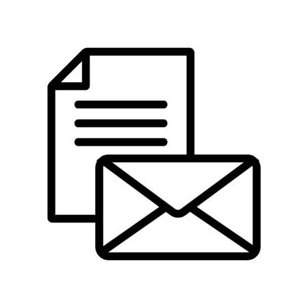 letter with files icon vector. A thin line sign. Isolated contour symbol illustration  イラスト・ベクター素材