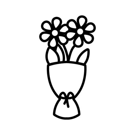 Two flower vector icon. A thin line sign. Isolated contour symbol illustration Reklamní fotografie - 135402774