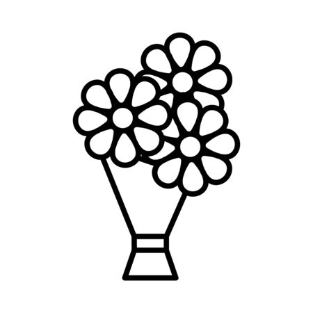Flowers on the holiday icon vector. A thin line sign. Isolated contour symbol illustration Reklamní fotografie - 135403048