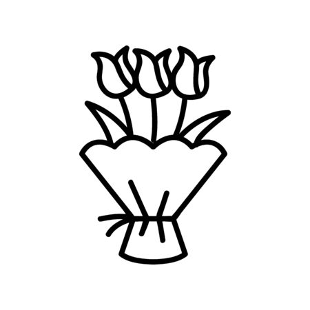 Roses in the packaging icon vector. A thin line sign. Isolated contour symbol illustration Reklamní fotografie - 135403382