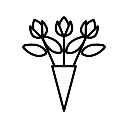 bouquet of roses icon vector. A thin line sign. Isolated contour symbol illustration Reklamní fotografie - 135403507