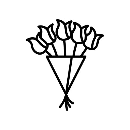 bouquet of tulips icon vector. A thin line sign. Isolated contour symbol illustration Reklamní fotografie - 135402777