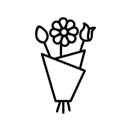 A bouquet of flowers icon vector. A thin line sign. Isolated contour symbol illustration Reklamní fotografie - 135403639