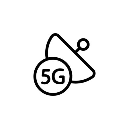 Internet and the data transmission satellite vector icon. A thin line sign. Isolated contour symbol illustration Stock Illustratie