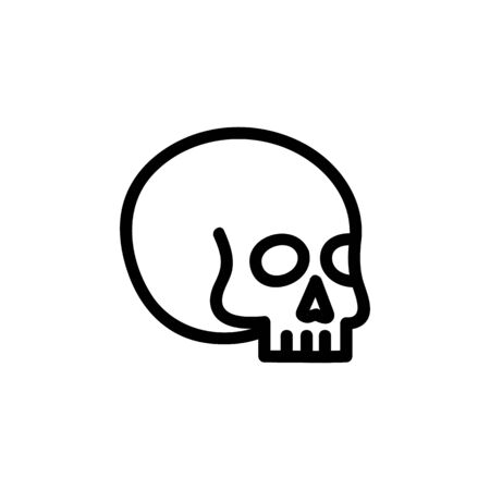 Magical skull icon vector. A thin line sign. Isolated contour symbol illustration